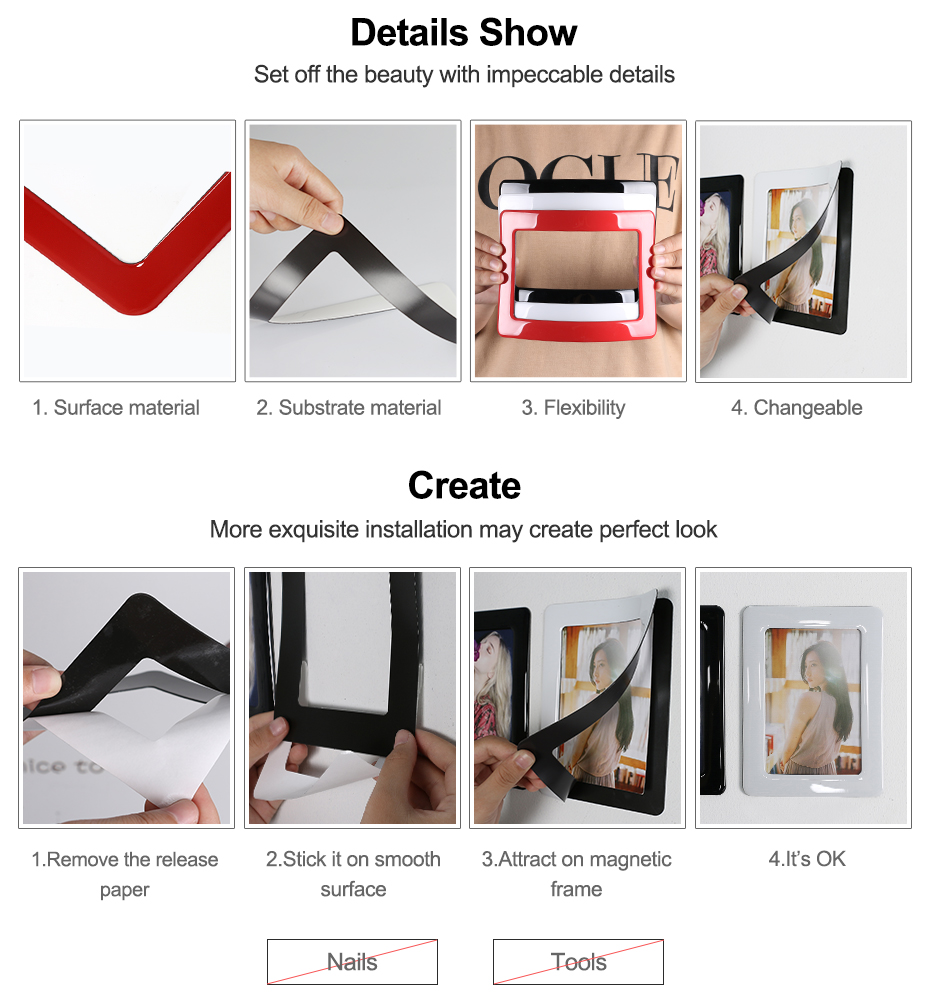 07 Magnetic Photo Picture Frames 6 X 4 7 X 5 Inches Wall Decor Movable Magnetic Photo Frame SET