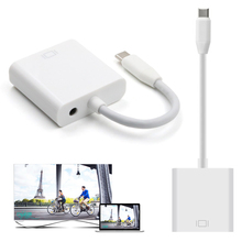Mini Portable USB 3.1 Type-C Male to Female VGA + Audio Converter Adapter VGA to Type C Cable For Macbook(China)