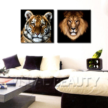 FREE SHIPPING Animal Oil Painting of Tiger 2 Panel Canvas Art Print Painting(Unframed)50x50cmx2pcs(China)