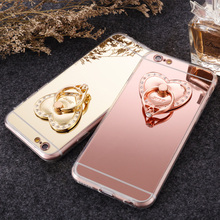 Kerzzil Heart Metal Mirror Stand Holder Case For iPhone 7 6 S Plus 5s SE Bling Diamond Back Soft Slim TPU For iPhone 7 6 5S Capa(China)