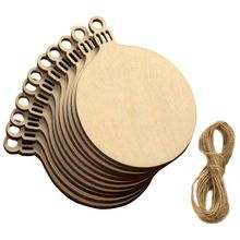UESH-10 Pcs Wooden Round Bell Hanging Christmas Tree Blank Decorations Gift Tag Shape(China)