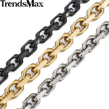 Trendsmax 9mm Gold-color CABLE Link Stainless Steel Necklace Mens Chain Boys Wholesale Dropship Jewelry KNM53