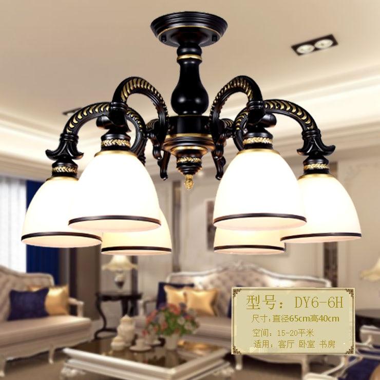 European style living room ceiling lamp iron bedroom retro American village restaurant chandelier creative garden lighting<br>