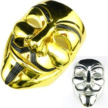 The V For Vendetta Party Cosplay Masque Gold Silver Halloween Mask Anonymous Guy Fawkes Fancy Dress Adult Costume Accessories
