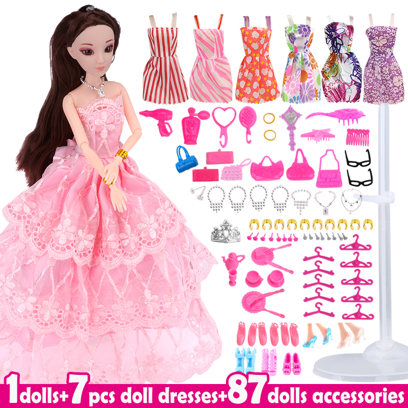 Lot 95 Items Doll and Accessories Fashion Ultimate Dressup Girl Dolls Toys Set Princess Toy Accessories DIY Gift for Little Girl