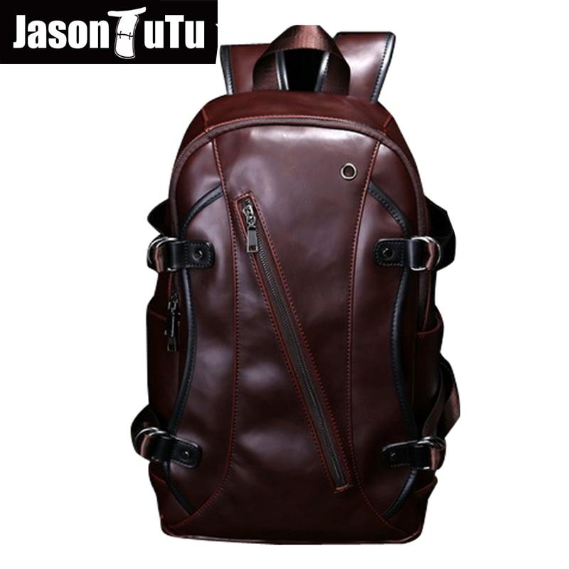 men backpacks Crazy horse leather 14-inch computer backpack bag Students school bag color coffee 45*26*10cm mochila B138<br>