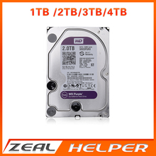 "In Stock WD Purple 1TB 2TB 3TB 4TB Hard Drive Disk For Security System HDD 3.5"" SATA DVR CCTV PC HDD Surveillance Hard Drives(China)"