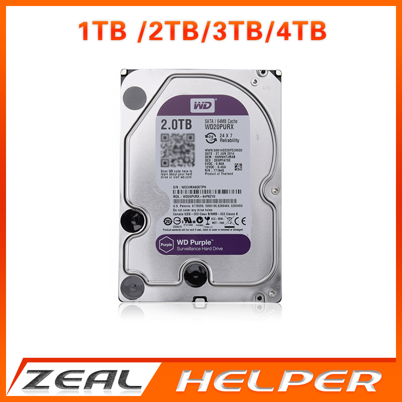 "In Stock WD Purple 1TB 2TB 3TB 4TB Hard Drive Disk For Security System HDD 3.5"" SATA DVR CCTV PC HDD Surveillance Hard Drives(China (Mainland))"