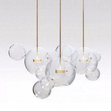 KINLAMS Post Modern Creative Clear Glass Bubble Ball Led Pendant Lamp for dining room living room bar LED Glass Hang Lamp(China)