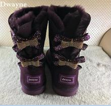 2017 winter women boots sheep fur bows diamond snow boots waterproof women snow boots diamond sheepskin boots free shipping