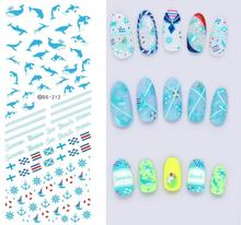 Hot Sell Design Water Transfer Nails Art Stickers Blue Ocean Fishes Anchor Nail Wraps Sticker Watermark Fingernails Decals(China)