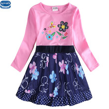cartoon kids Girls dress 2-6T nova kids wear children's clothing long sleeves baby kids casual fashion hot selling child frocks(China)