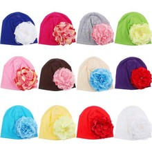 Flower Baby Hat Newborn Baby Cotton Beanie Baby Cap Peony Flower Infant Baby Summer Hat Children Accessories