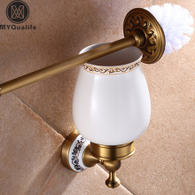 Wall Mounted Bathroom Bath Hardware Sets Antique Brass Towel Bar Toilet Brush Holder Towel Ring Hooks Soap Dish Basket