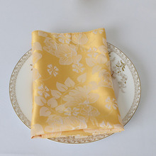 50pcs Luxury Chinese Classical Handkerchief Square Polyester Dinner Table Napkin Gold For Hotel Restaurant Wedding Party Decor(China)