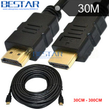 (100pcs/lot) HDMI 1.4v male to male HD 3D extension cable 0.3m 1m 2m 3m 4m 10m 15m 20m 30m WITH ETHERNET CABLE hdmi1.4 HDTV(China)