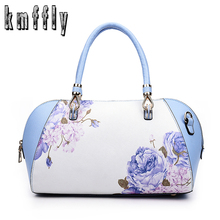 KMFFLY Boston Printing Flower PU Leather Fashion Women Bag Famous Brands Designer Handbag High Quality Female Shoulder Bags sac(China)