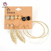 DANZE 6 Pairs/lot Gothic Black Crystal Stud Earrings Set for Women Female Big Circle Leaf Ear Pendant Ear Studs Brincos Jewelry