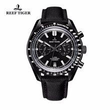 2019 Reef Tiger/RT Mens Designer Chronograph Watch Nylon Strap Luminous Sport Male Black Pilot Watches Relogio Masculino RGA3033(China)