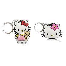 2PCS Hello Kitty the Cat Cartoon Soft PVC Charms+ Keychain Keyrings Kid Gift Party Favors Key Cover Bag Straps Decor Accessories(China)