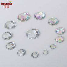 Promotion Best Quality! 2017 New Fashon Round Shape Double hole Flat Acrylic Jewel For Women Jewelry accessories