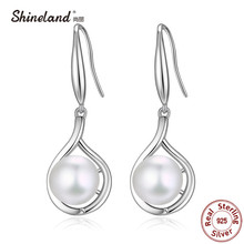 Shineland High Quality 100% Real 925 Sterling Silver Pearl Earrings For Women Lady Female Drop Earrings Authentic Jewelry Gifts