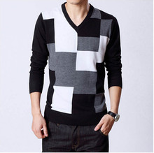 Men's Sweaters Sell like Hot Cakes In The Spring And Autumn Outfit Thin Model Grid V-neck Sweater Sweater Male Free Shipping(China)