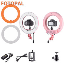 Fotopal Pink Color 48cm Dimable 240 LED Camera Ring Light Video/Photo/phone Panel Video Fill Light Annular Lamp For Photo Camera(China)