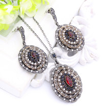 Gorgeous Ellipse Corrugated Rhinestone Jewelry Sets Resin Drop Earrings Stereoscopic Pendant Necklace Turkish Vintage Jewelry(China)