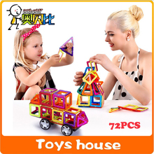 72pcs big size Magnetic Designer Creator 3D DIY Building Blocks Bricks toys for children Educational Magnetic Children Toys(China)