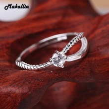 925 sterling silver jewel ladies single chulks silver twist crystal ring wedding ring set shenzhen fine tail ring(China)