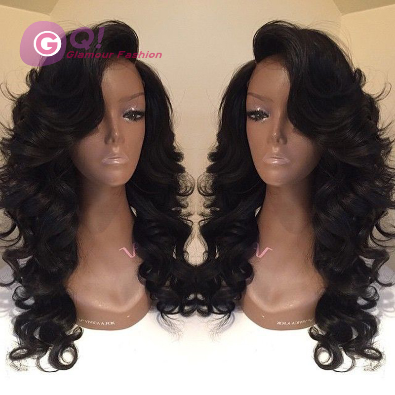 Grade 7A show human hair wigs virgin brazilian glueless lace front human hair wig &amp; full lace wig with bangs for black women<br><br>Aliexpress