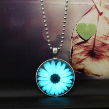 Magical Glowing Steampunk Necklace Fire Fairy Glow In The Dark Necklace Round Sunflower Necklace 2015 Women Jewelry(China)