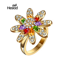 Hesiod Unique Antique Gold Sunflower Rings For Women Colorful Resin Crystal Big Ring Christmas Gift Vintage Jewelry