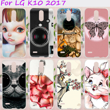 Cell Phone Cases For LG K10 2017 Cover X400 M250 M250N Hard Plastic Soft TPU Cat With Black Glasses Painted Skin Housings