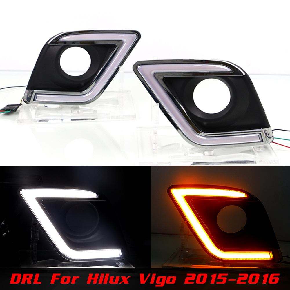 Car DRL Daytime Running Light Assembly for Hilux Vigo 2015 2016 Left and Right Bumper DRL White DRL Yellow Turning Signal Light<br>