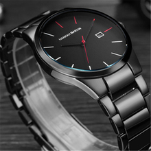 Mens Watches Top Brand Luxury Casual Fashion Quartz Watch Men Steel Calendar Black Sport Watches Men's Gift Relogio Masculino