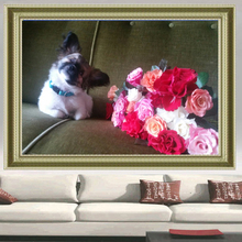 Diy Crafts Diamond painting Dog 3D square Diamond mosaic icon rhinestones full Picture flowers Diamond embroidery Puppy and rose(China)
