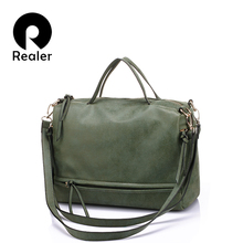 REALER brand women handbag with two straps high quality PU leather tote bag retro shoulder messenger bags green/gray/blue/red
