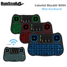 Newest Keyboard MT08 5 Colors Blacklight Mini Wireless Keyboard 2.4GHz Air Mouse Touchpad Handheld for Windows Android Linus OS(China)