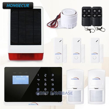 HOMSECUR Wireless&Wired GSM/PSTN Home Burglar Alarm + Solar Powered Flash Siren with EN & FR menu adjustable(China)