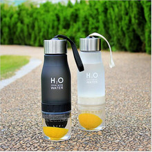 650ml H2O Drink More Water Squeezed Juice Lemon Juice Water Bottle Fruit Infuser Drinkware For Outdoor Sports My Shaker Bottle(China)