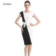 AAMIKAST Women Vintage O-neck Patchwork Wear To Work New Fashion 2017 Party Cocktail Party Slim Stretch Bodycon Pencil Dresses