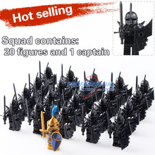 21PCS Medieval Castle Knights The Hobbits The Lord of the Rings Figures with Armor Weapon Building Blocks Bricks Toys Kids Gift(China)