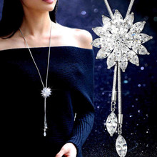 New Fashion Alloy Women Long Necklace Sweater Chain Long Flower Pendant Necklace Women Jewelry Gifts Clothing Accesories 368072(China)
