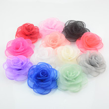 12pcs/lot 12color U Pick 9cm Layered Gauze Rose Flowers Burned Edges Floral Supply DIY Craft Hair Accessories TH223