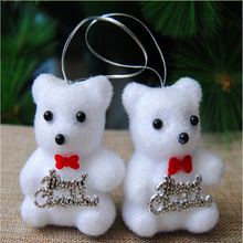 One pair of white foam 7 cm Bear doll Christmas tree ornaments hanging Christmas Decoration