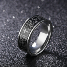 NEWBUY 2017 Fashion Men's Ring Classic Design Stainless Steel Black Ring Engraved Bible Punk Style Male Jewelry