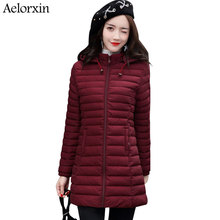 2017 Winter Jacket Women Long Slim Coat Female Down Cotton Clothing Thicken Parka Plus Size Hooded Jackets Casual Outwear 5XL(China)