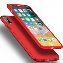 360 Degree Protection Case For iphone X 7 7 Plus 6 Plus 6S Plus Cover Luxury Case Plastic Hard Shockproof Back Cover+Free Glass(China)
